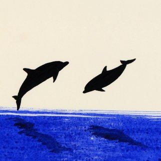 Two Dolphins Watercolor 2014 25x22 Watercolor - Robert Wyland