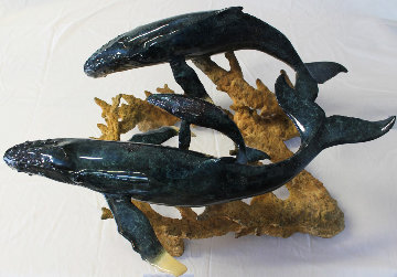 Humpback Realm Cast Bronze Dining Table AP 2002 39x44 Sculpture - Robert Wyland