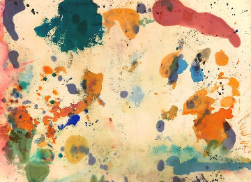 Expressionistic Abstract Composition in Blue, Red, Orange, Pink 1957 25x33 Original Painting - Taro Yamamoto