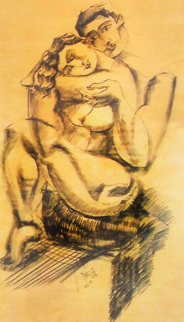 Tranquility Charcoal on Wood 2006 49x60 Original Painting -  Yuroz