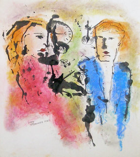 Untitled Man and Woman Painting 1973 32x28 Original Painting - Zamy Steynovitz