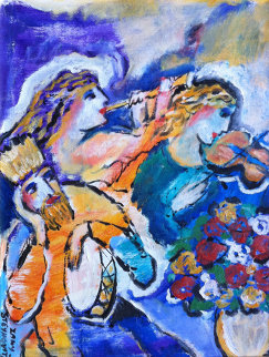 Untitled Musicians with Violin, Flute, and Drum 13x10 Original Painting - Zamy Steynovitz