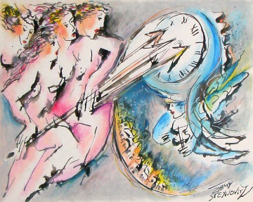 Chasing Peaceful Time Watercolor 1975 34x29 Watercolor - Zamy Steynovitz