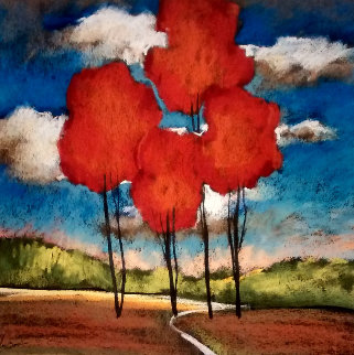 Original  (Red Trees 1) Pastel  2002 23 x 23 Original Painting - Helen Zarin