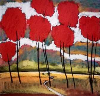 Original  Red Trees II 23x23 Original Painting - Helen Zarin