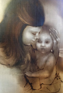 Mother And Child 1967 18x26 Original Painting - Zora Duvall