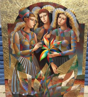 Three Graces 2016 68x58 Original Painting - Oleg Zhivetin