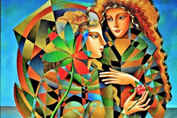 Two Flowers 2011 36x46 Original Painting - Oleg Zhivetin