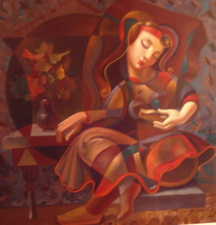 Poem Reader Embellished 1999 Limited Edition Print - Oleg Zhivetin