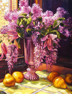 Lilacs and Wisteria 2015 41x33 Original Painting - Caroline Zimmermann