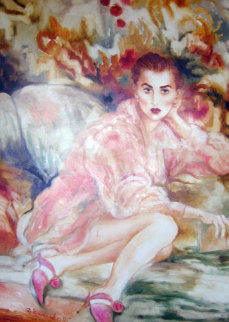 Untitled Woman 1995 57x46 Original Painting - Joanna Zjawinska