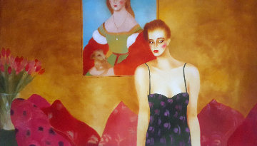 Who is That Girl? 1984 50x85 Original Painting - Joanna Zjawinska