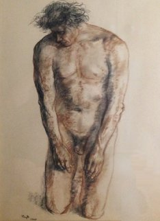 Nude Male Drawing 1965 30x37 Drawing - Francisco Zuniga