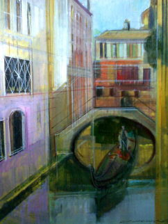 Venice Golden Dawn 28x24 Original Painting - Alex Zwarenstein