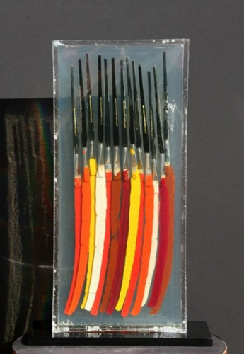 Paintbrushes III Resin and Oil Paint Sculpture AP