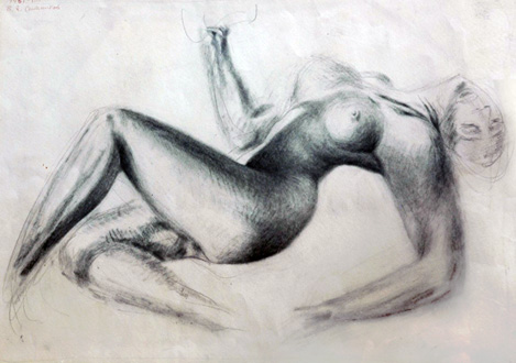 Nude Drawing 1951 by Alexander  Sitnikov