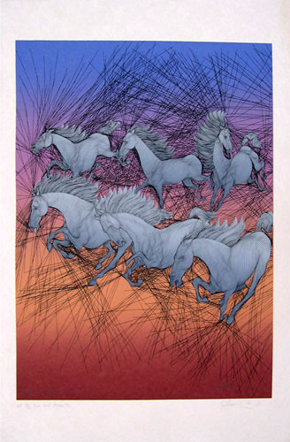 Dix Huit Cheveaux (Eighteen Horses) Complete Series of Three Etchings