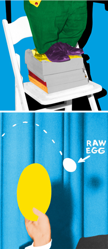 Hand And/Or Feet: Chair & Books/plate and Egg (Two Panels)