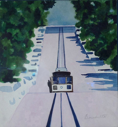 San Francisco Cable Car Watercolor 1996