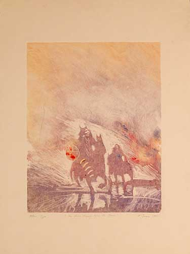 He Rides Angrily Before the Sun Monoprint 1989