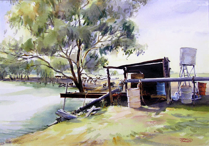 By the Weir, Hilston NSW Australia Watercolor 2004