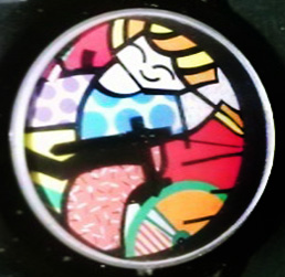 Girl on a Bicycle Watch 1993 by Romero Britto