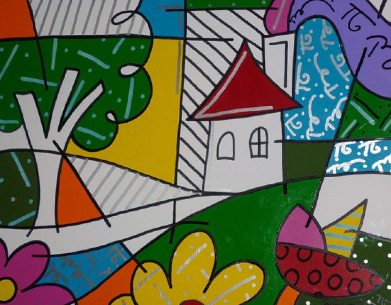 House With Tree on Left 1997 by Romero Britto
