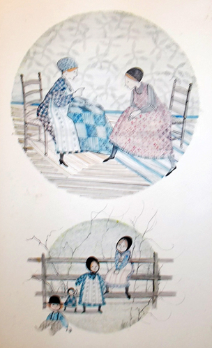 Quilt Ladies Watercolor 1976