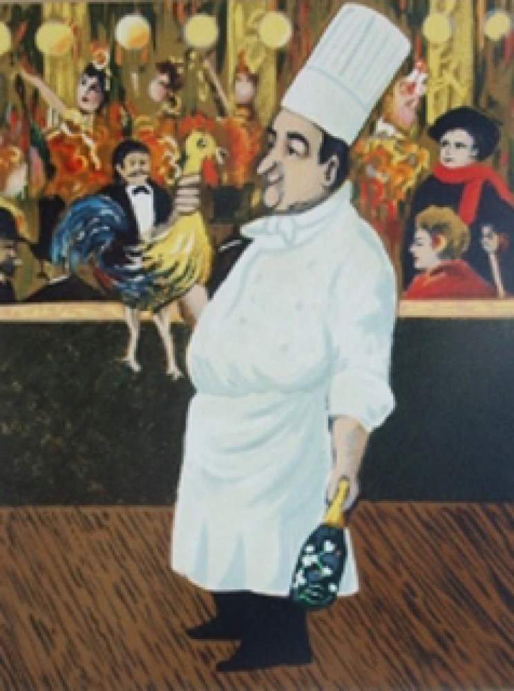 Chef With Flower Bottle And Chicken