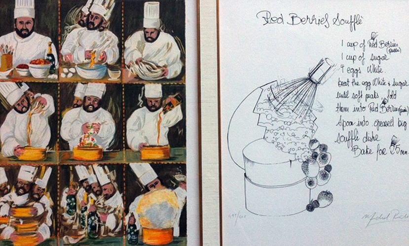 Suite of 4 -Great Chefs California-handwritten Recipes of 4 Chefs 1994