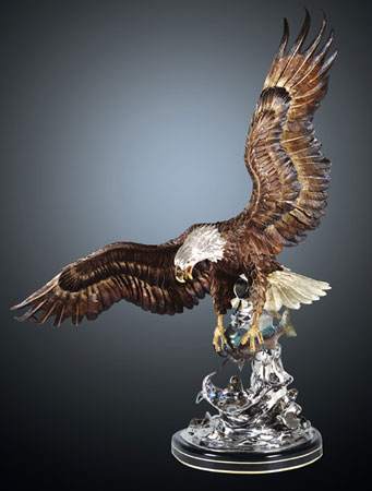 On the Wings of an  Bronze Eagle Sculpture 1991