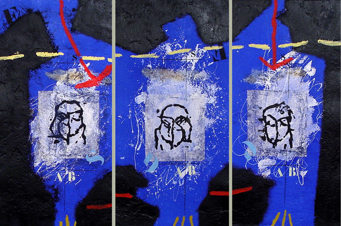 Triptych Tryptyque Bleu suite of 3