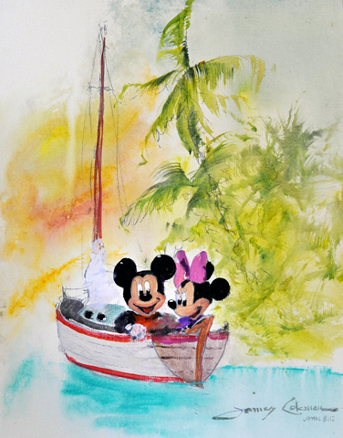 Mickey and Minnie Sailing Watercolor 2006
