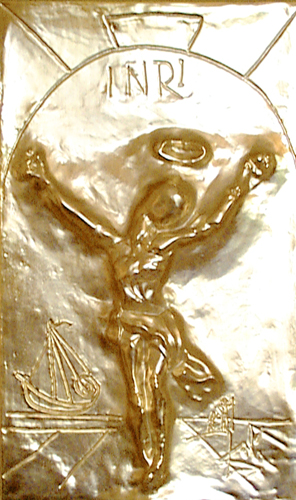 Christ St. John of the Cross Bas Relief Bronze Sculpture With Gold Patina