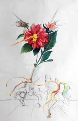 Flora Dalinae Dahlia Unicorns 1968 by Salvador Dali