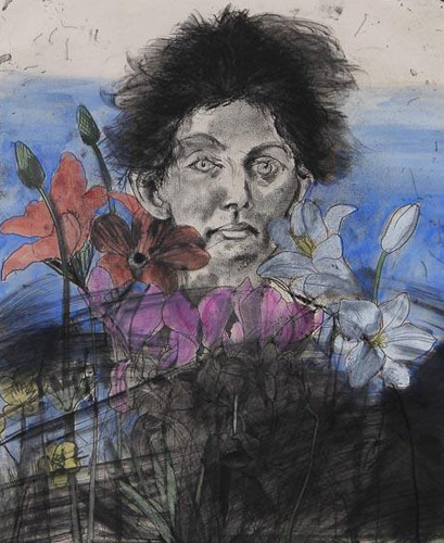 Nancy Outside in July #6, Flowers of the Holy Land 1979 by Jim Dine