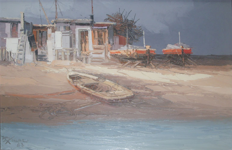 Beach with Boats and Houses