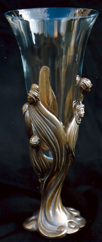 Visage De Femme Crystal and Bronze Vase 1987