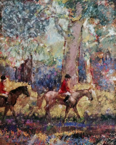 Forest Path With Two Riders in Red 2005