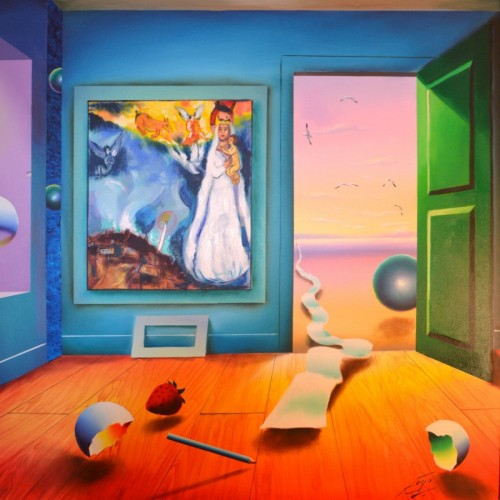Untitled Interior with Surrealistic Painting