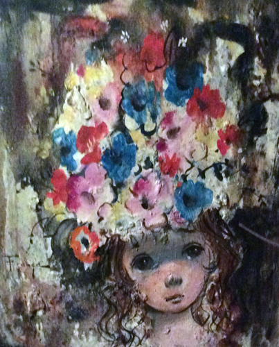 Big Eyed Girl With Floral Sun Hat 62x45