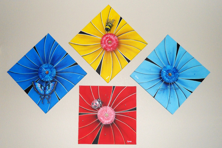 Flower Series 1, Set of 4 Paintings 2002