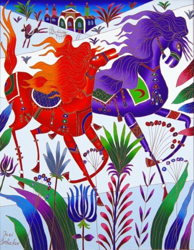 Red And Violet Horses 2008