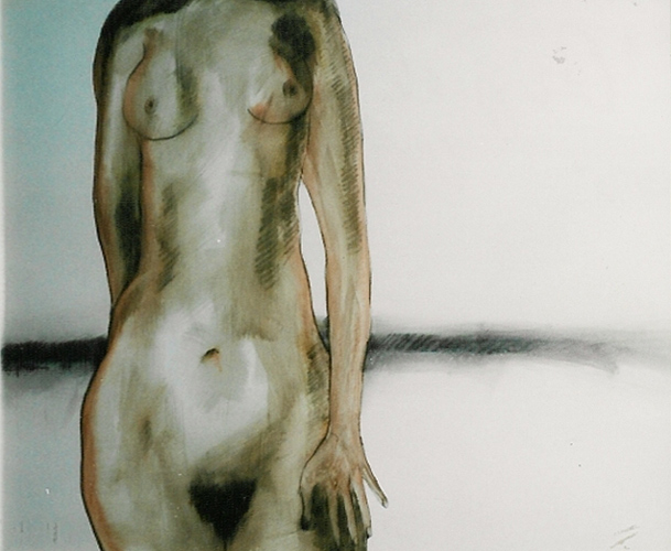 Nude Female Torso Watercolor 1978 (Untitled)