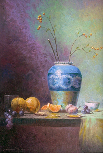 Blue Vase with Fruits 2012
