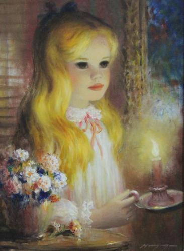 Blond Girl With Lighted Candle