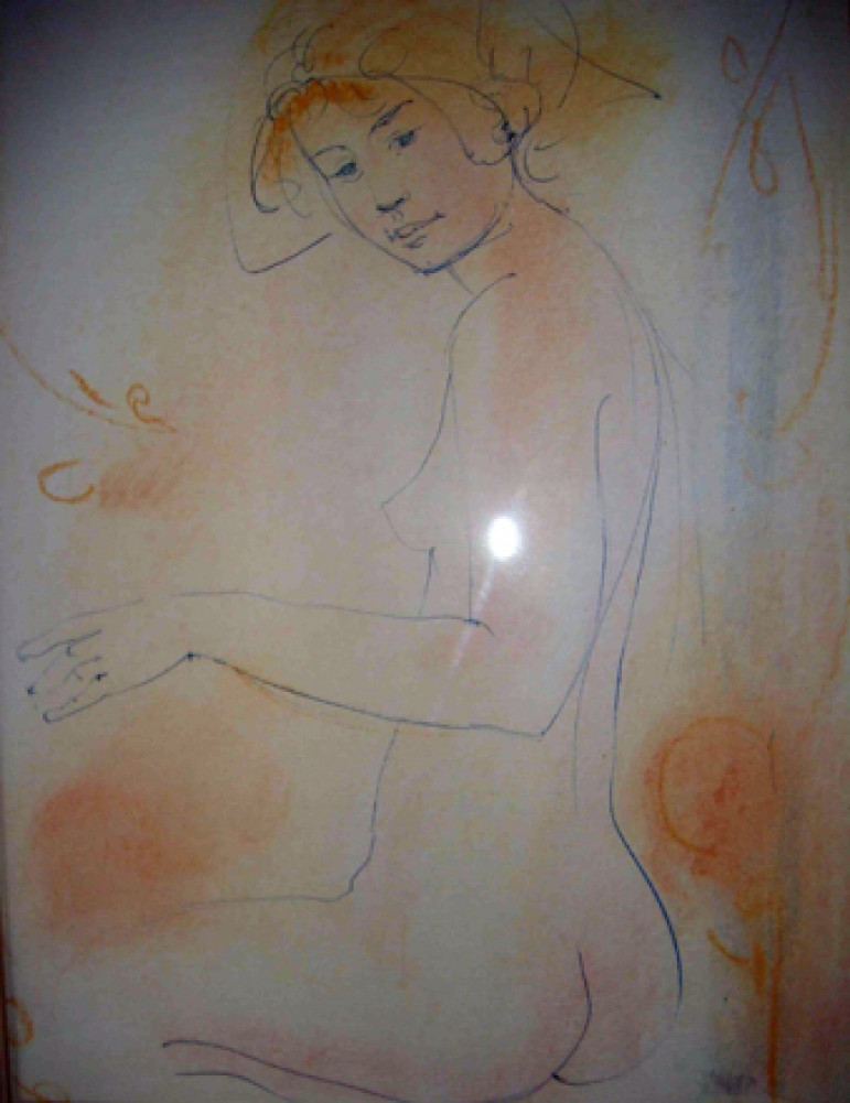 Sitting Peach and Blue Nude Watercolor