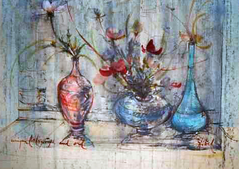 Three Vases, LI 96 Watercolor 1974