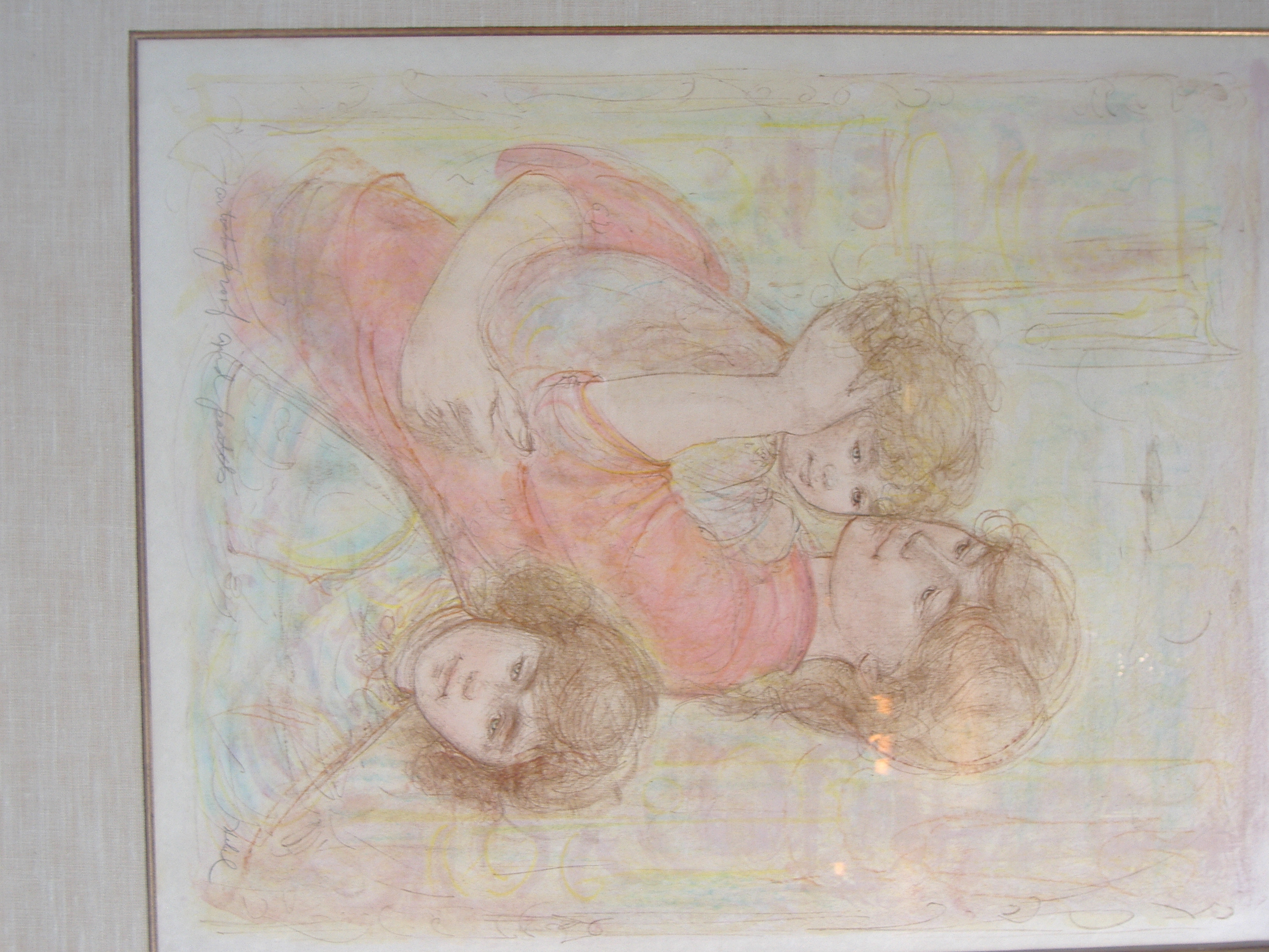 Mother And Two Children - AP and Pastel