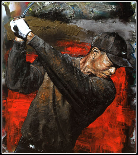 Tiger Woods, Red Background 2001